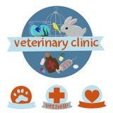 Logotipo veterinario de la cl?nica con la imagen del canario, del conejo y de los pescados Ilustraci?n del vector ilustración del vector