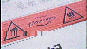 Logotipo video del Amazon Prime de la cinta del vintage de VHS almacen de metraje de vídeo