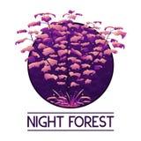 Logotipo violeta místico oscuro del bosque stock de ilustración