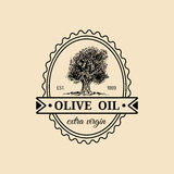 Logotipo virgem extra do azeite do vintage do vetor Emblema retro com árvore A mão esboçou o sinal rural da produção da exploraçã Imagem de Stock Royalty Free