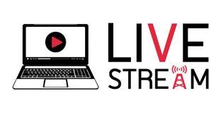Logotipo vivo de la corriente del ordenador portátil libre illustration