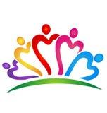 Logotipo vivo de los colores de los corazones del trabajo en equipo Imagenes de archivo