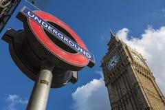 Logotipo y Big Ben del transporte de Londres Fotografía de archivo