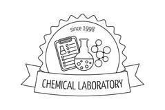 Logotipo y emblema para los laboratorios, los negocios, las industrias y los productos químicos, médicos, de investigación Imagen libre illustration