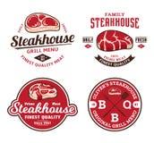 Logotipo y etiquetas del asador o de la tienda de la carne libre illustration