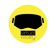 logotipo y gafas de 3D VR Fotografía de archivo libre de regalías