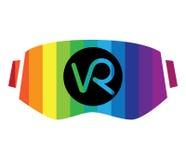 logotipo y gafas de 3D VR Imagenes de archivo
