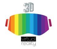 logotipo y gafas de 3D VR Imagen de archivo libre de regalías