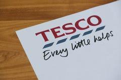 Logotipo y lema de Tesco Imagen de archivo libre de regalías