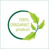 Logotipo y símbolo orgranic del producto del vector el 100% Imagen de archivo libre de regalías