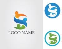 Logotipo y símbolos app de la familia de la gente de S Imagen de archivo libre de regalías