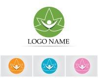 Logotipo y símbolos de la salud de la naturaleza del verde de la hoja de la gente Fotos de archivo