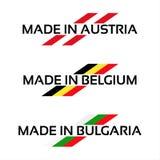 Logotipos ajustados do vetor feitos em Áustria, feita em Bélgica e Made nos Bu ilustração do vetor