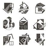 Logotipos bajo la forma de casas Imágenes de archivo libres de regalías