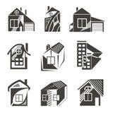 Logotipos bajo la forma de casas Fotos de archivo libres de regalías