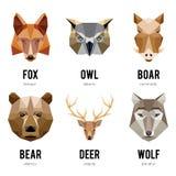 Logotipos bajos del animal del polígono Sistema geométrico triangular del logotipo de los animales ilustración del vector