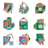 Logotipos coloreados bajo la forma de casas Imagen de archivo libre de regalías