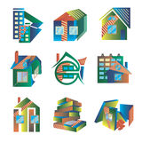 Logotipos coloreados bajo la forma de casas Fotos de archivo