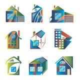 Logotipos coloreados bajo la forma de casas foto de archivo libre de regalías