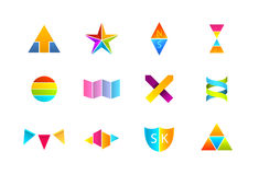 Logotipos coloridos sentados Imagens de Stock Royalty Free