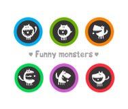 Logotipos con los monstruos divertidos Imagen de archivo libre de regalías