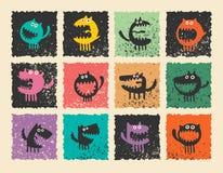 Logotipos con los monstruos divertidos Foto de archivo libre de regalías