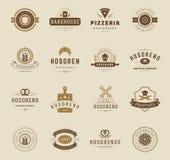 Logotipos, crachás e etiquetas da loja da padaria Imagens de Stock Royalty Free