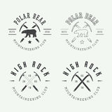 Logotipos, crachás, emblemas e projeto árticos do alpinismo do vintage Imagem de Stock Royalty Free