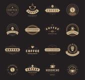 Logotipos da cafetaria, crachás e projeto das etiquetas Fotos de Stock Royalty Free