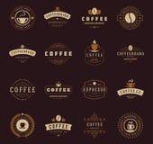 Logotipos da cafetaria, crachás e projeto das etiquetas Imagens de Stock