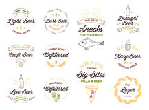 logotipos da cerveja do Garatuja-estilo, crachás Foto de Stock Royalty Free