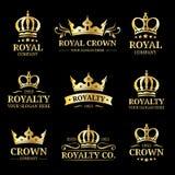 Logotipos da coroa do vetor ajustados Projeto luxuoso dos monogramas da corona Ilustrações dos ícones do diadema Usado para o hot Imagem de Stock Royalty Free