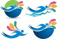 Logotipos da natação da coleção Fotos de Stock