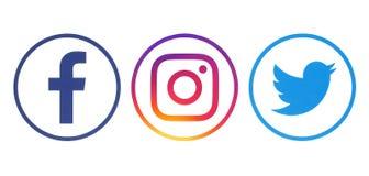 Logotipos de Facebook, de Twitter y de Instagram imagen de archivo libre de regalías