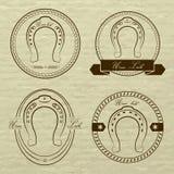 Logotipos de herradura en diversos estilos Con la inscripción su Fotografía de archivo