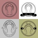 Logotipos de herradura en diversos estilos Con la inscripción su suerte Imágenes de archivo libres de regalías