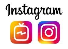 Logotipos de Instagram e de Instagram IGTV ilustração royalty free