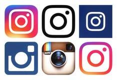 Logotipos de Instagram no fundo branco ilustração royalty free