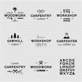 Logotipos de la artesanía en madera del vintage stock de ilustración