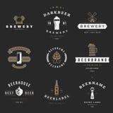 Logotipos de la cervecería de la cerveza del vintage, emblemas, etiquetas Imagenes de archivo