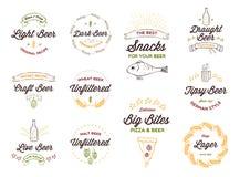 logotipos de la cerveza del Garabato-estilo, insignias Foto de archivo libre de regalías