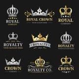 Logotipos de la corona del vector fijados Diseño de lujo de los monogramas de la corona Ejemplos de los iconos de la diadema Util Imagenes de archivo