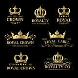 Logotipos de la corona del vector fijados Diseño de lujo de los monogramas de la corona Ejemplos de los iconos de la diadema para Fotos de archivo