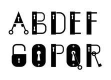 Logotipos de la llave y de la cerradura de ABC o fuente decorativa Imagen de archivo
