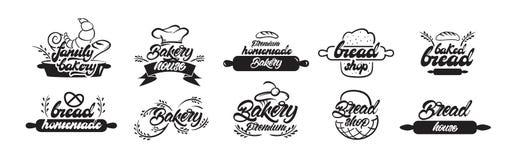 Logotipos de la panader?a Casa de la panadería, hornada del hogar, logotipos móviles de la panadería en poner letras a estilo Ilu libre illustration