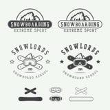 Logotipos de la snowboard del vintage, insignias, emblemas y elementos del diseño Fotos de archivo libres de regalías