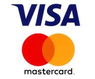 Logotipos de la visa y de Mastercard fotos de archivo
