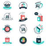 Logotipos de las compras y del mercado Fotos de archivo libres de regalías