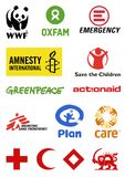 Logotipos de las organizaciones no gubernamentales ilustración del vector