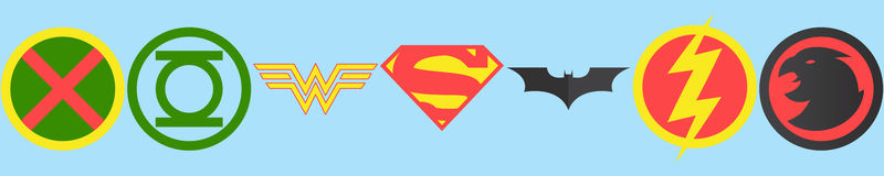 Logotipos de League de la justicia ilustración del vector